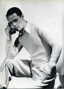 France Paris Man Fashion Jumper Knitwear 3 Suisses old Photo 1939