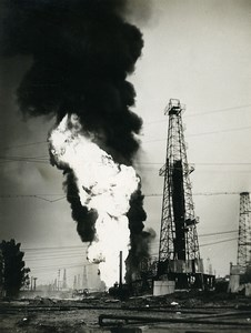 USA Oil Extraction Industry Derricks Fire old Photo 1950