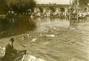 France Paris international swimming race of 200 meters old Photo Rol 1910