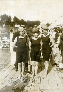 France Paris international swimming race 200 meters 3 Women old Photo Rol 1910