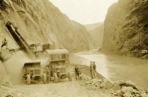 USA Marion Digger Excavation Trucks River old Photo 1920