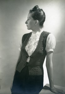France Woman Knitted Cardigan Fashion 3 Suisses old Photo 1950