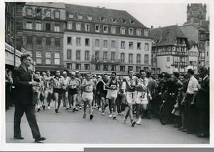 Strasbourg Paris race walking departure place Kleber old Photo 1955