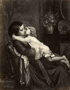 France Painting Artwork The maternal kiss by A. Toulmouche old Photo Goupil 1860