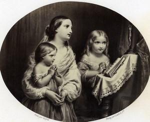 France Peinture Oeuvre d'Art La prière en famille par Halfeld Ancienne Photo Goupil 1860