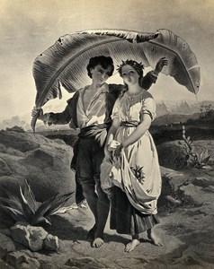 France Peinture Oeuvre d'Art Paul & Virginie Ancienne Photo Goupil 1860