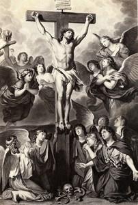 France Peinture Oeuvre d'Art Christ en croix Ancienne Photo Goupil? 1860