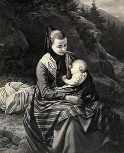 France Painting Artwork The mother painted by Meyerheim old Photo Goupil? 1860