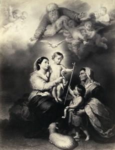 France Painting Artwork Baby Jesus God Angels old Photo Goupil? 1860