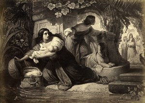 France Painting Artwork Egyptian scene Moses? Old Photo Goupil? 1860