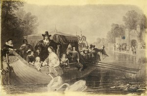 Germany Painting Artwork Group on Boat Swans old Photo Albert 1855