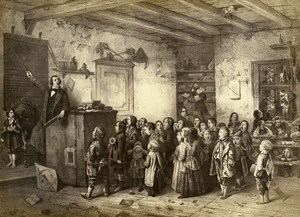 Germany Painting Artwork The school teacher & Kids old Photo Albert 1855