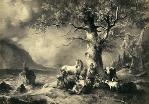 Germany Painting Artwork Couple & Animals under a Tree old Photo Albert 1855
