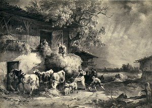 Germany Painting Artwork Farm work Animals Hay old Photo Albert 1855