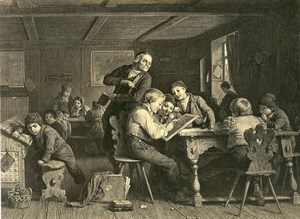 Germany Painting Artwork the School teacher classroom old Photo Albert 1855