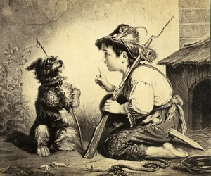 Germany Painting Artwork The dog and his master Toy Rifle old Photo Albert 1855