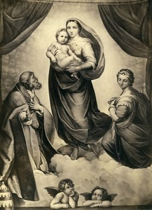 Germany Painting Artwork The Virgin by Raphael? Old Photo Albert 1855
