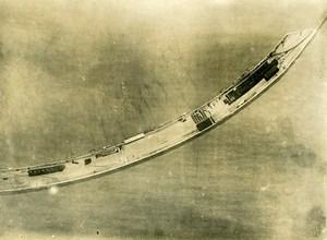 France WWI Champ d'aviation Bateaux vue aérienne Ancienne Photo 1918