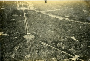 France WWI Paris Arc de Triomphe Champs Elysees vue aérienne Ancienne Photo 1918