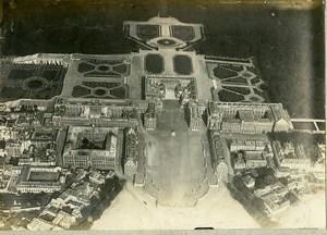 France WWI Versailles Chateau Jardins vue aérienne Ancienne Photo 1918