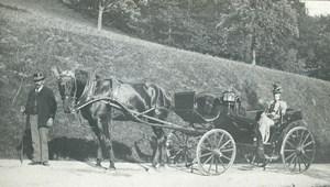 France Région Parisienne Dame dans attelage de Cheval Ancienne Photo 1890