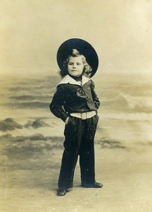France Roubaix Young Boy Sailor Outfit old Photo Cabinet Card Shettle 1890