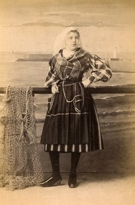 France Sables d'Olonne Traditional costume old Photo Cabinet Card Collin 1890