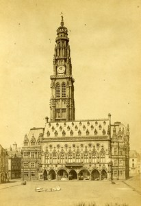 France Arras Town Hall Belfry old Photo Cabinet Card Desavary 1870's