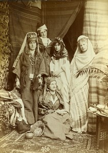 France Women in Maghreb traditional costume Fantasy old Photo Cabinet Card 1889