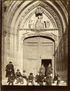 Espagne Burgos Portail de l'eglise San Nicolàs Groupe d'Enfants Ancienne Photo 1880