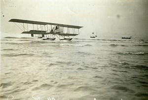 France Deauville Aviation Eugene Renaux dans Hydravion Farman Ancienne Photo 1913