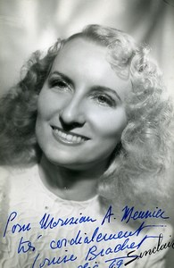 France Operette Louise Brachet Artiste Autographe Ancienne Photo Sinclair 1940's