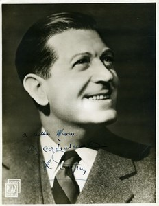 France French Actor Singer Albert Prejean Autograph Old Piaz Photo 1950