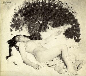 Arts Nude & Peacock Painting by Léon Comerre Old Photo 1880