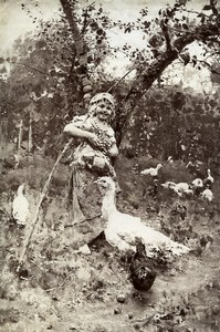 Italy Arts Photo of Painting At the farm Poultry Old Photo 1880
