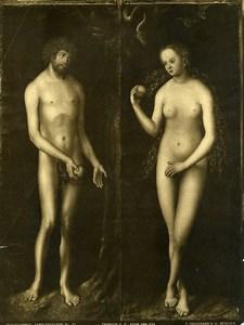Braunschweig Arts Painting by Cranach Adam & Eve Old Bruckmann Photo 1880