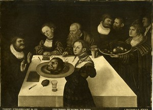 Frankfurt Painting by Cranach Feast of Herod Old Bruckmann Photo 1880