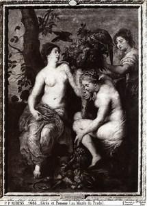 Madrid Prado Arts Painting by Rubens Ceres & Pomone Old Photo 1880