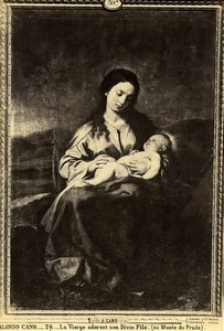 Madrid Prado Arts Painting by Alonso Cano The Virgin and Child Old Photo 1880