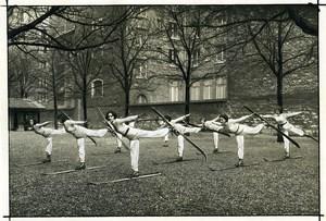 Sports Paris ecole de ski féminin Entrainement en Plein Air Ancienne Photo 1930