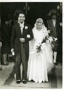 Sports Paris Mariage Simone Thion de La Chaume & René Lacoste Ancienne Photo 1930