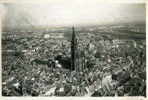 France Panorama Strasbourg Cathedral Old Aerial Military Photo 1930