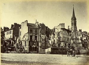 Siege of Paris Commune Ruins Saint Cloud Place d'Armes Old Liebert Photo 1870
