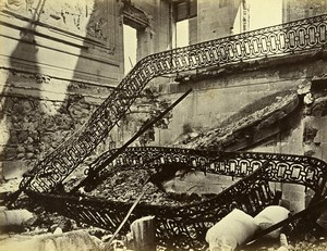 Siege of Paris Commune Ruins Saint Cloud Palace Stairs Old Liebert Photo 1870