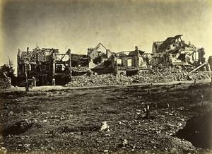 Siege de Paris Commune Ruines Chatillon Plateau Maisons bombardées Ancienne Photo Liebert 1870