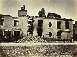 Siege de Paris Commune Ruines Bondy place de l'église Ancienne Photo Liebert 1870