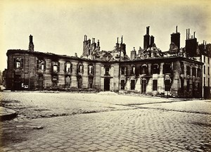 Siege of Paris Commune Ruins Direction d'Artillerie Old Liebert Photo 1871