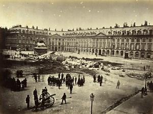Commune de Paris Ruins Colonne Vendome Column Old Liebert Photo 1871