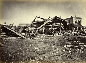 Siege of Paris Commune Ruins Auteuil Railway Station Old Liebert Photo 1871