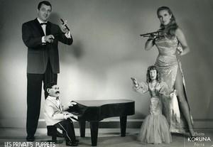 France Jany Privat Puppets Puppeteer Striptease Bar old photo Koruna 1962